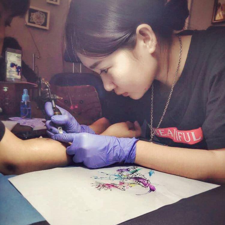 栀子花纹身手稿