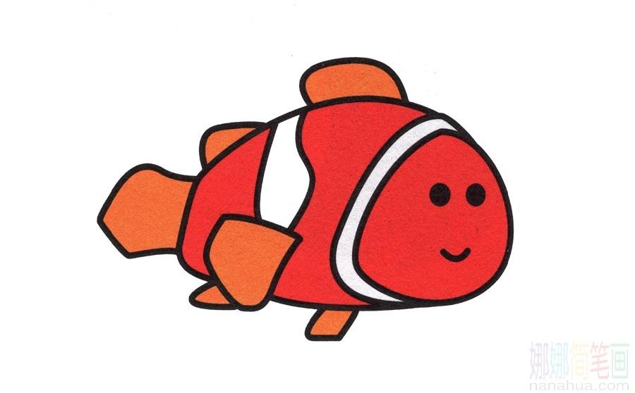 小丑魚_海洋魚紅色小丑魚 簡筆畫畫法_圖片 4