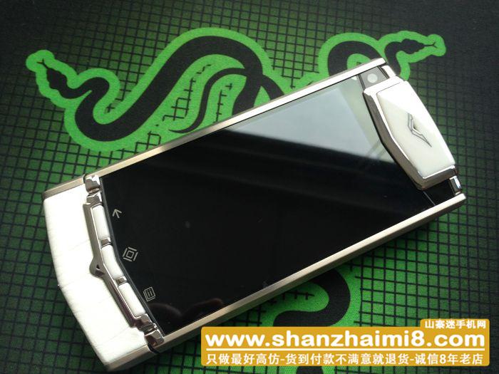 高仿威图手机 智能 Vertu Ti【银边】【白色】【鳄鱼皮】