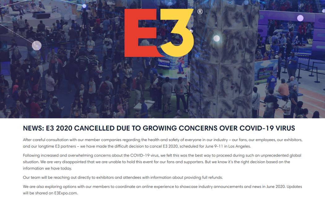 2021年E3游戏展再见!由于新冠状病毒的原因,全球最大游戏展2020年E3决定取消!
