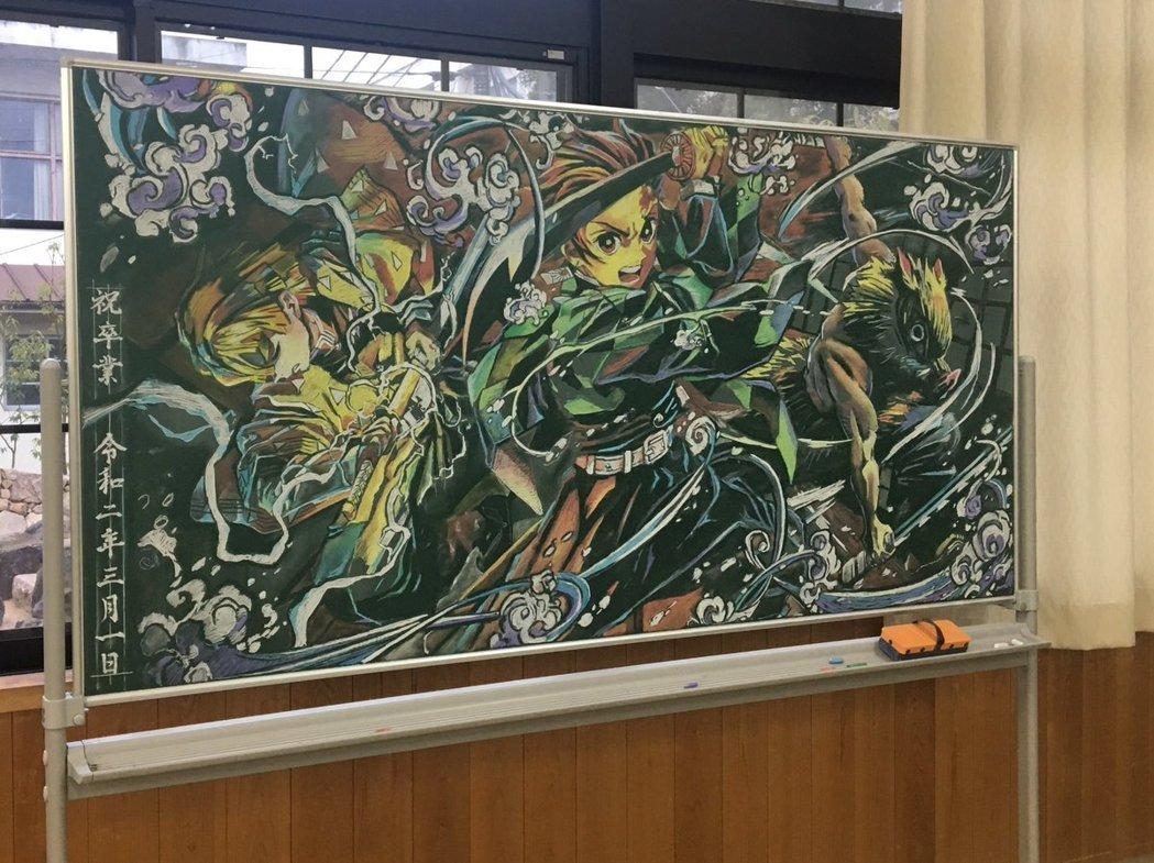 日本毕业季学生大触在黑板上画出动漫黑板报!鬼灭之刃黑板报画风真的太强!-四斋社