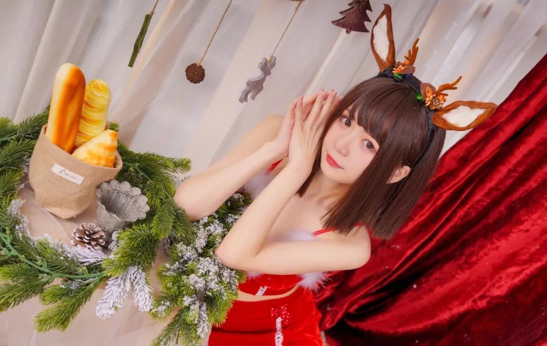 【COSPLAY美女】圣诞制服少女的红色渔网丝袜 喵糖映画 VOL.095 甜甜的小麋鹿 [39P-1.19GB]