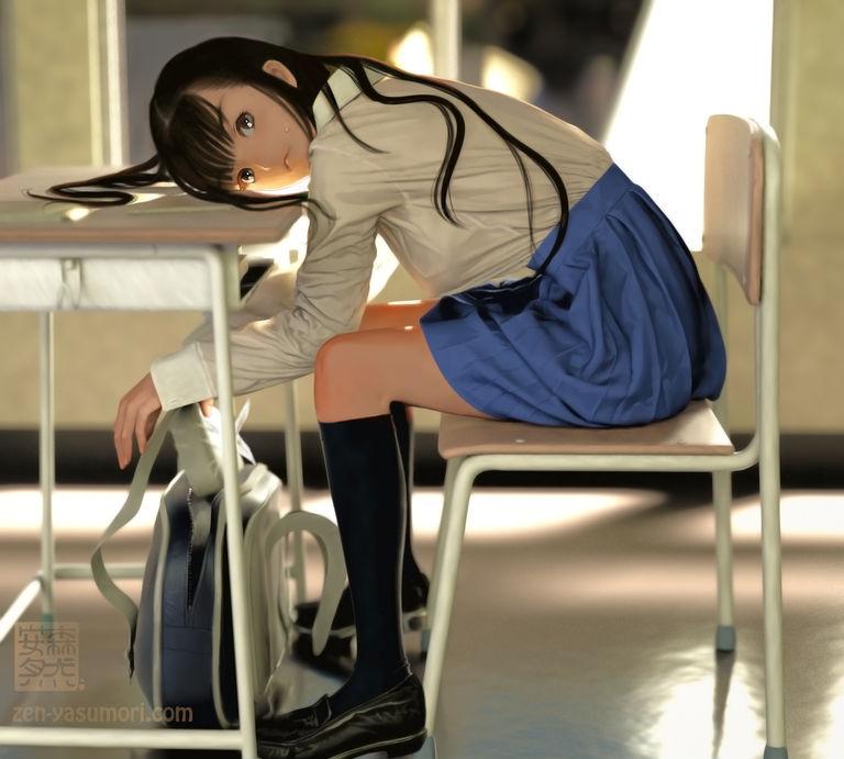 「P站壁纸」JK制服女高中生的一天