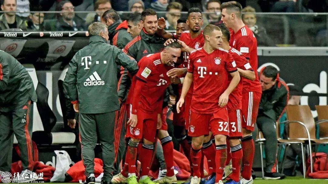 德甲第17轮 拜仁3:0法兰克福 国王两球取联赛5连胜10