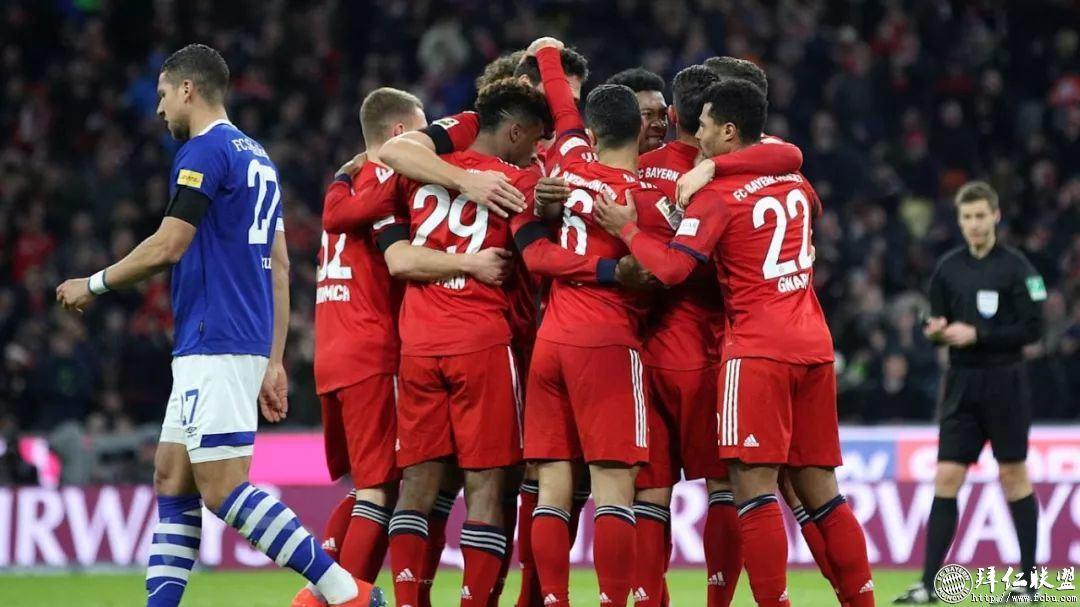 德甲21轮 拜仁3:1沙尔克 距多特5分 莱万主场百球1