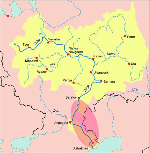 伏尔加河流域地图