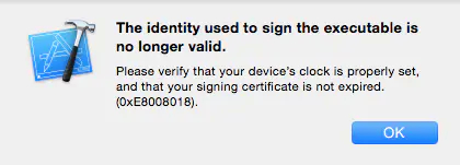 The identify used to sign the executable is no longer vaild  XCode报错 【问题解决】插图