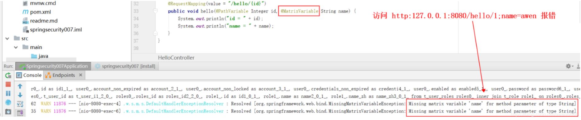 Missing matrix variable 'name' for method parameter of type String【解决办法】插图