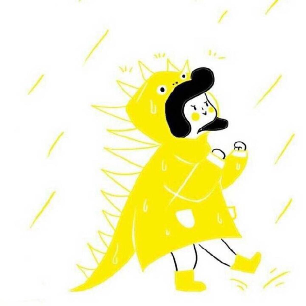 黄色手绘风格高清情侣头像