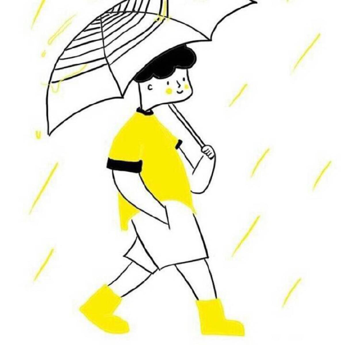 黄色手绘风格高清情侣头像 第8张