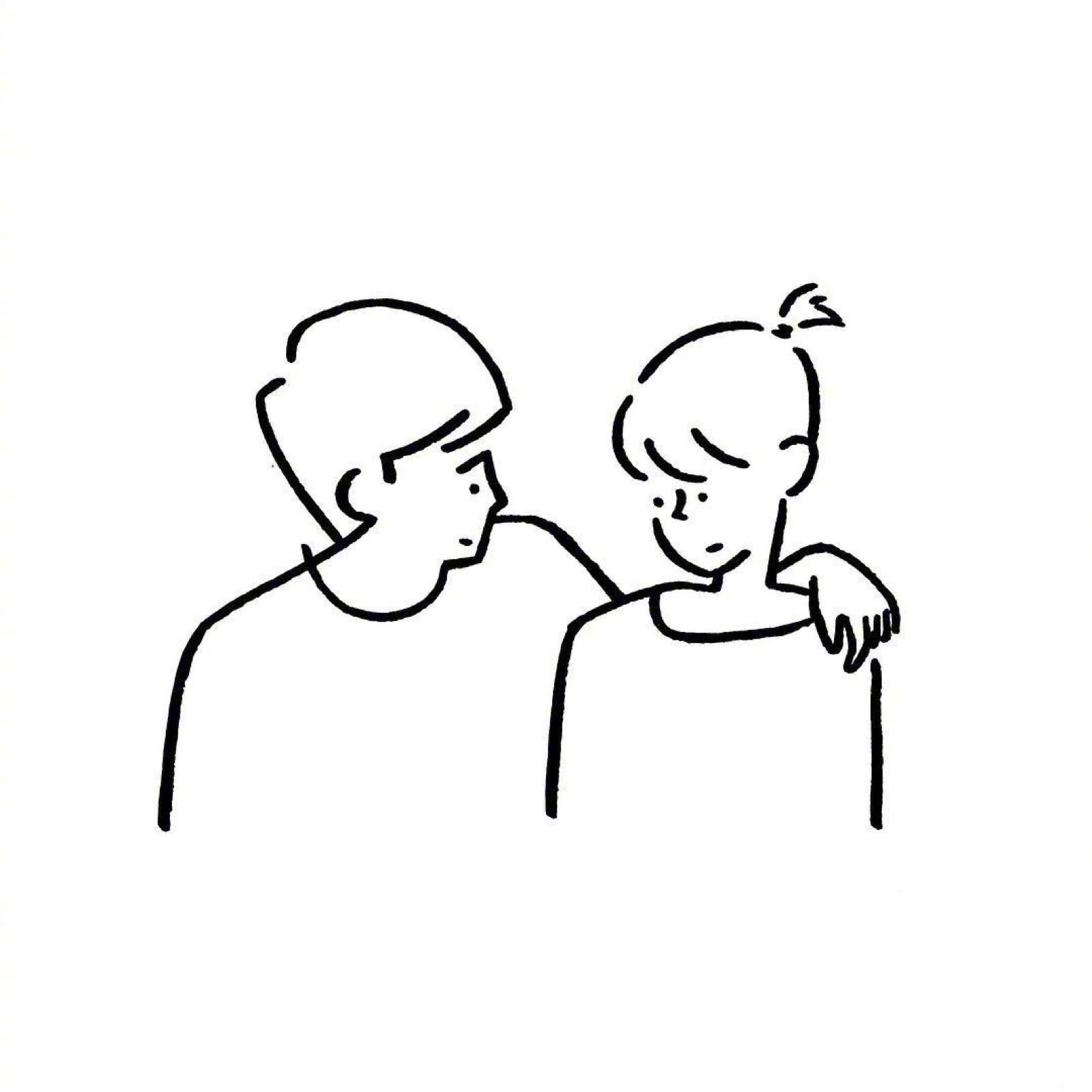 黑色线条高清情侣头像