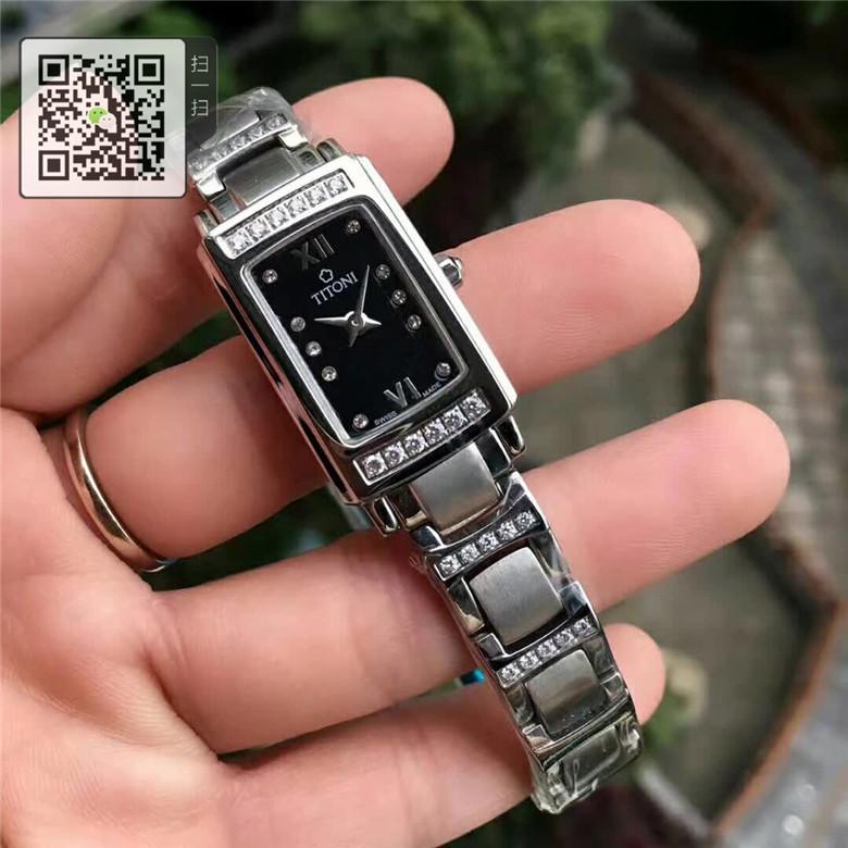高仿梅花女士手表优雅伊人系列方形镶钻20MM