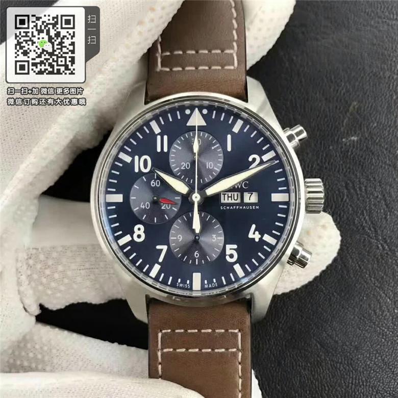 精仿万国IWC自动机械男表IW377714棕色皮带 高仿新款飞行员系列手表图片