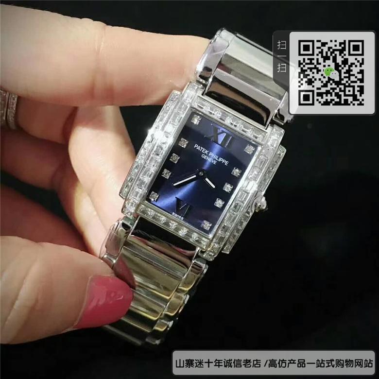 复刻版百达翡丽TWENTY~4系列女表  精仿4910/10A-012 不锈钢 蓝盘手表图片