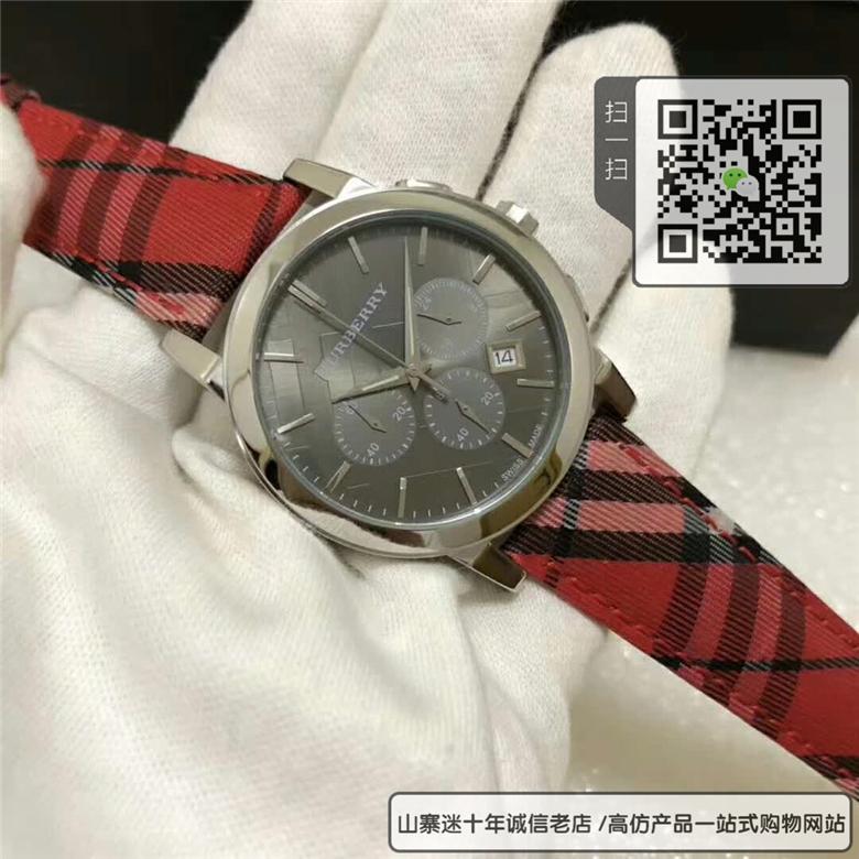 精仿巴宝莉手表男表BU9752三眼计时格纹石英男士手表图片