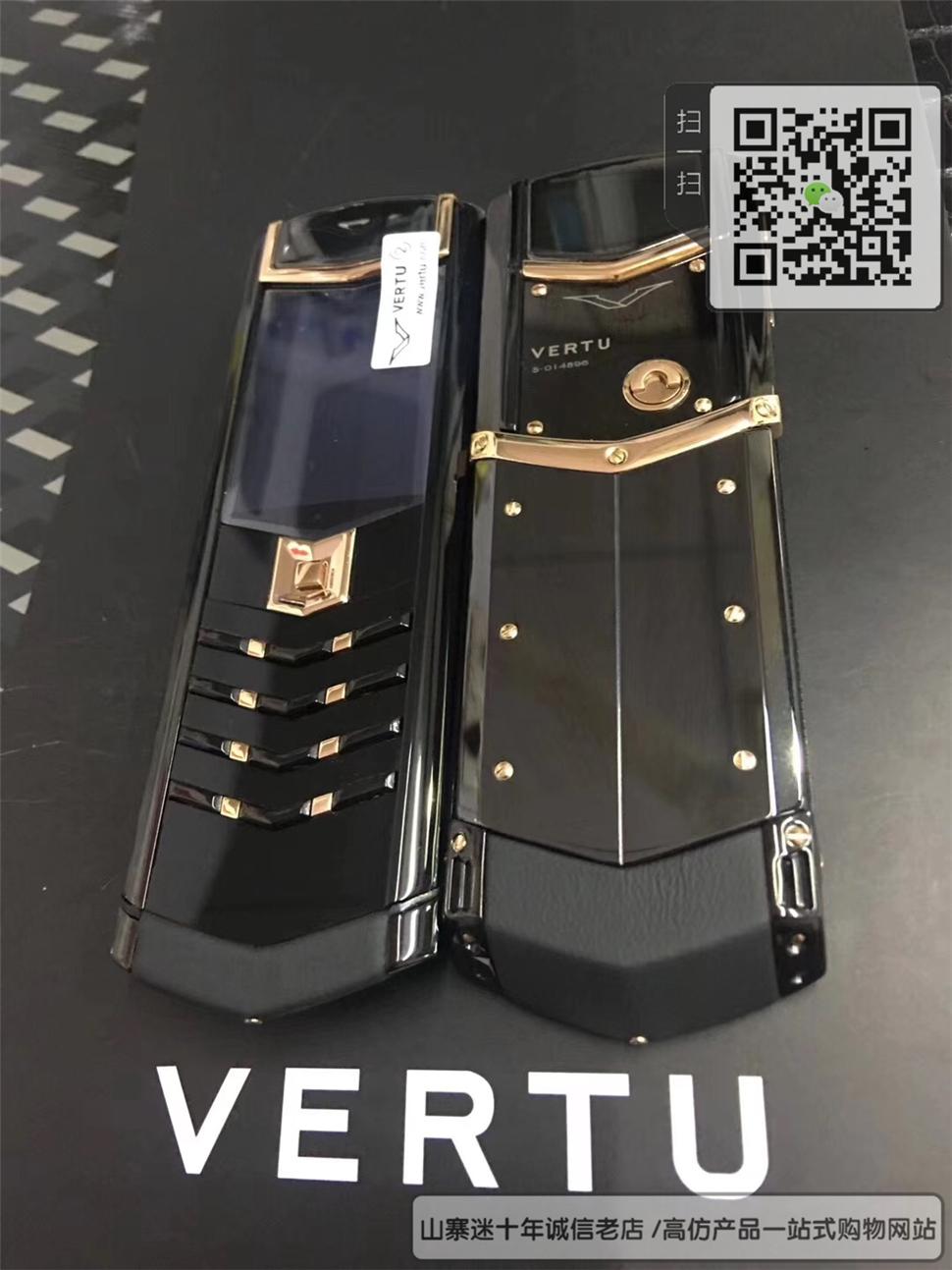 高仿 VERTU  Signature - 黑色+黄金色-陶瓷-隐藏键盘☼
