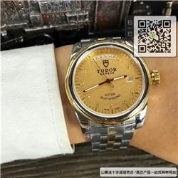 复刻版帝舵骏珏系列男表  复刻56003-68063金盘提花带钻黄金圈黄金及钢表带手表 ☼