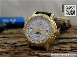 精仿百达翡丽男表石英表真皮表带43MM防水手表 ☼
