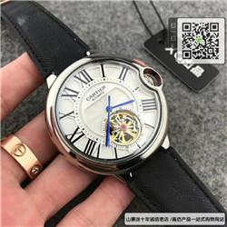 复刻版卡地亚-Cartier男表自动机械表精钢表壳牛皮表带42MM ☼