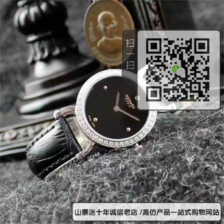 精仿爱马仕Hermes-Fauourg系列石英女表牛皮表表带表圈镶钻图片