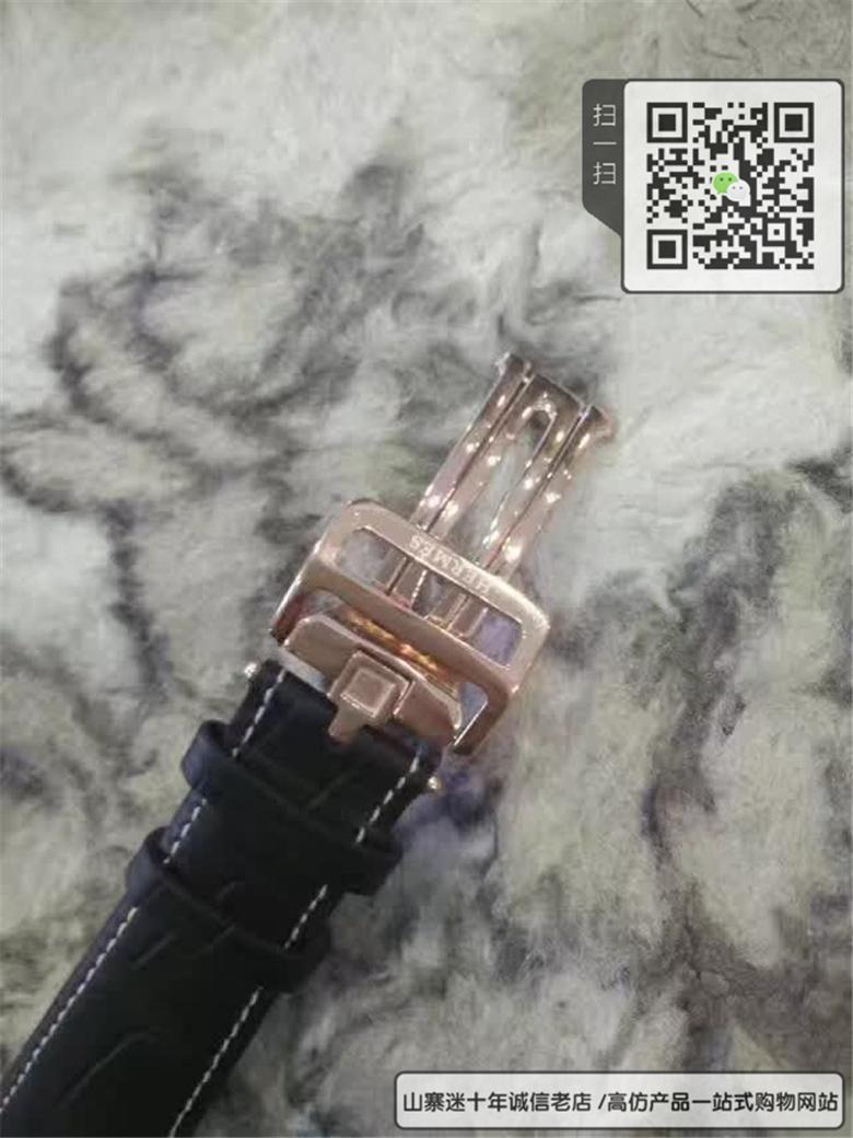 复刻版爱马仕男表石英表真皮表带精钢表壳图片