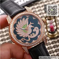 高仿雅典鎏金珐琅系列自动机械女表牛皮表带精钢表45MM☼