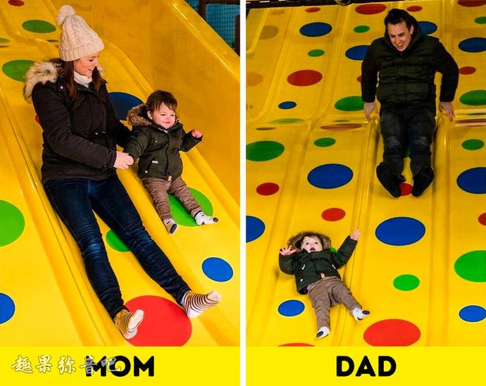 父母带孩子的不同点在哪?原本爸爸才是长不大的小盆友-爱趣猫