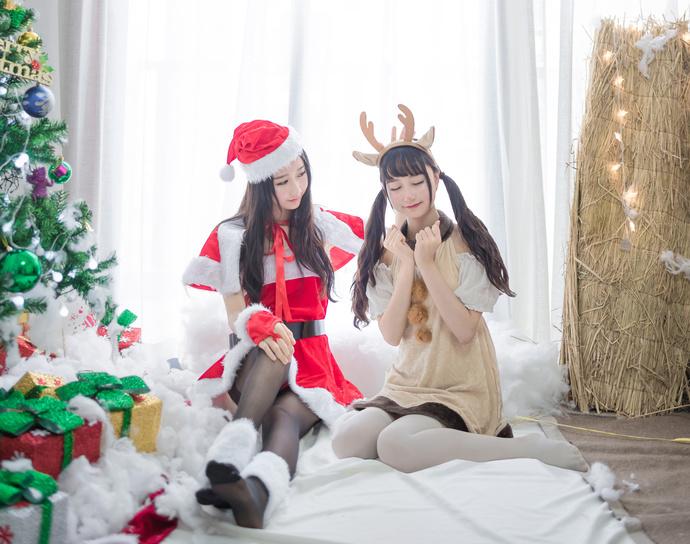 (本套写真免费)圣诞小姐姐和小驯鹿来了