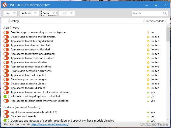 win10隐私保护和设置优化工具 O&O ShutUp10 1.6.1400.1 绿色便携版