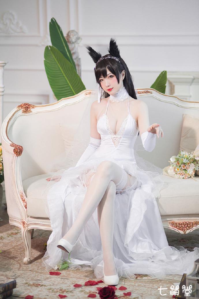 人气coser@妖少youichi,碧蓝航线爱宕婚纱,嫁我可好? COS在线