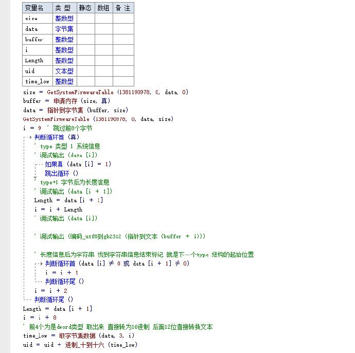 E语言 API获取主板UID【免费网盘链接】