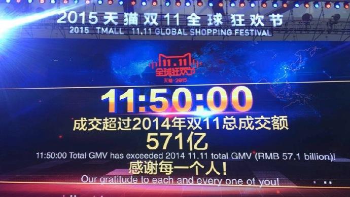 上午11点49分,天猫双11成交额超571亿,破去年全天记录 第1张