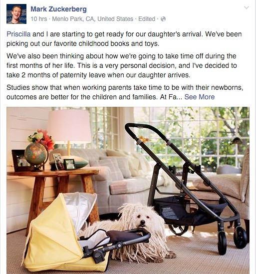 """扎克伯格请""""产假"""",Facebook 首席执行官将要缺席两个月? 第3张"""