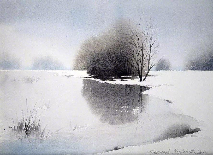 意境水彩画图片 很喜欢这种意境深远的留白