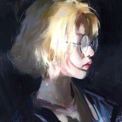 高清有深度的微信头像女艺术手绘图片