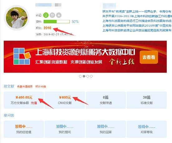 上海科技创新资源数据中心用户页面
