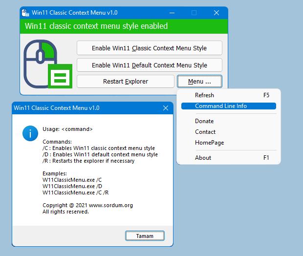 Windows 11右键经典上下文菜单切换小工具