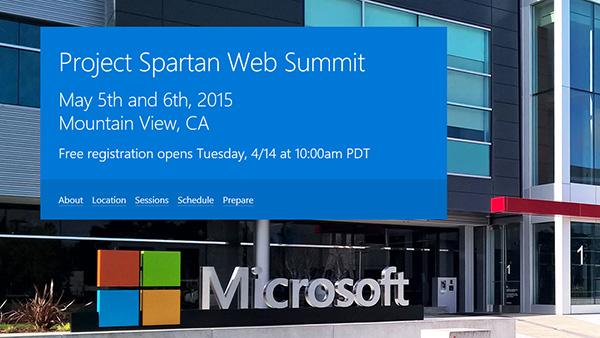 微软宣布5月5日召开Spartan浏览器开发者峰会的照片
