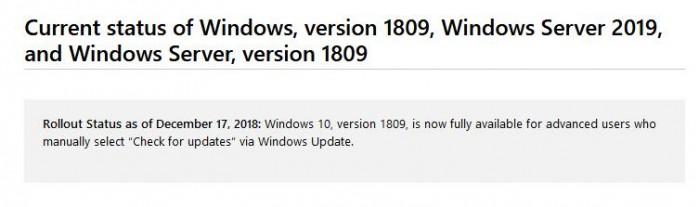 微软支持文档:现可手动检查更新升级Win10十月更新的照片 - 2