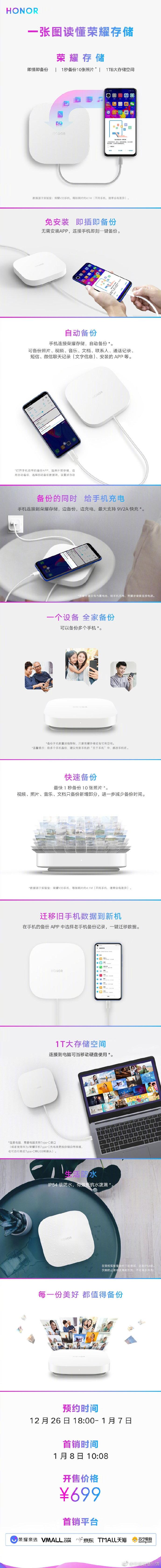 699元 荣耀存储发布:可备份微信聊天记录的照片 - 2