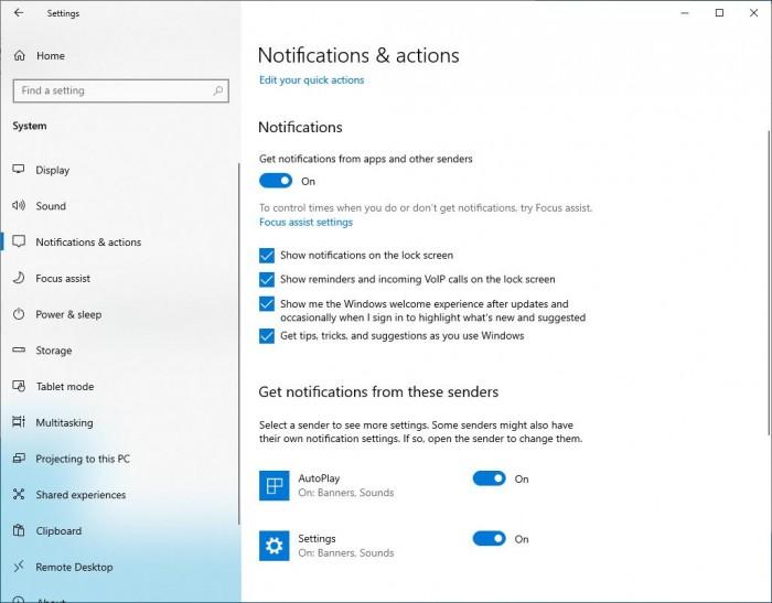 Win10 20H1 Builds将在通知设置中提供更多自定义功能的照片 - 3