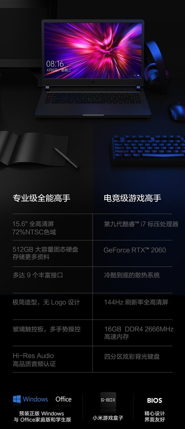 小米游戏本2019款发布:顶配i7-9750H+RTX2060+144Hz的照片 - 12