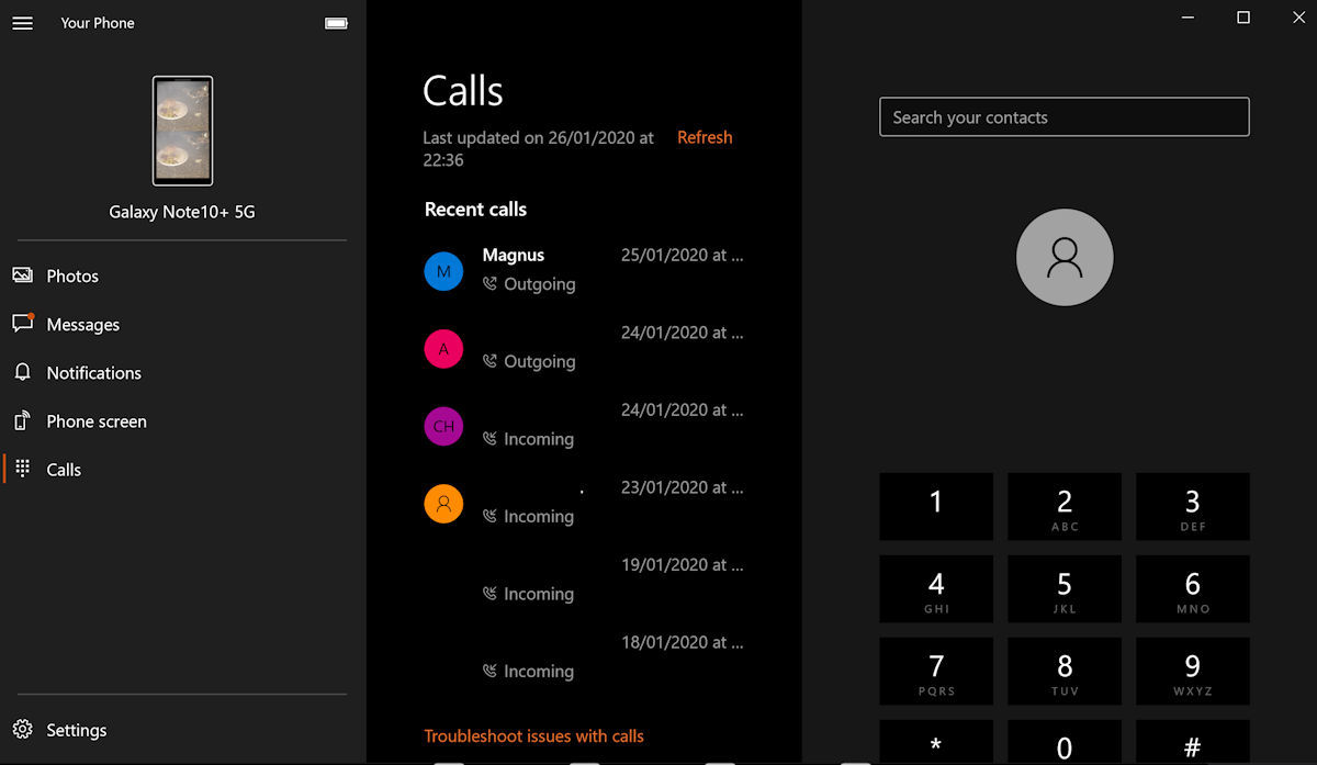 微软Your Phone应用现已正式支持电话呼入呼出