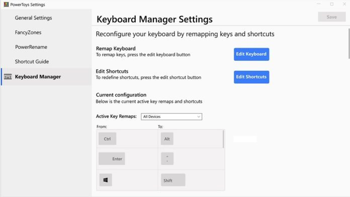 Win10将迎来基于PowerToys系统工具的键盘管理器的照片 - 2