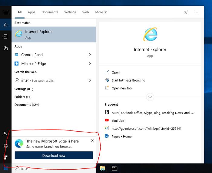 微软尝试在系统搜索UI中推广新版Edge浏览器的照片 - 2