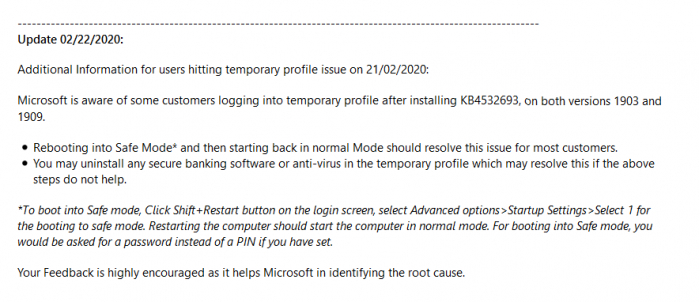 微软承认Win10更新KB4532693包含错误 并提供恢复新方案的照片 - 2