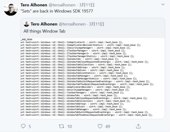 Win10标签化功能Windows Sets有回归迹象的照片 - 2