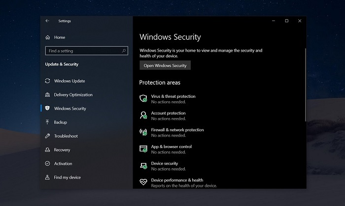 Windows安全应用程序或阻止Win10 2004的安装