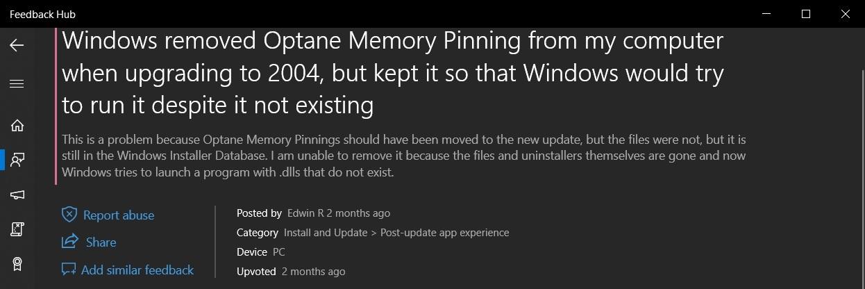 Win10 2020年5月更新造成英特尔Optane模块出现问题的照片 - 4