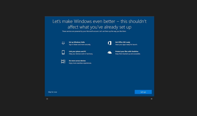 微软正尝试对非新安装系统的用户弹出Win10全屏设置界面的照片 - 1